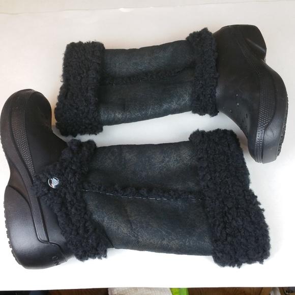 5e73e885c1ffc1 CROCS Shoes - Women s CROCS Nadia Black Faux Shearling Boots 8